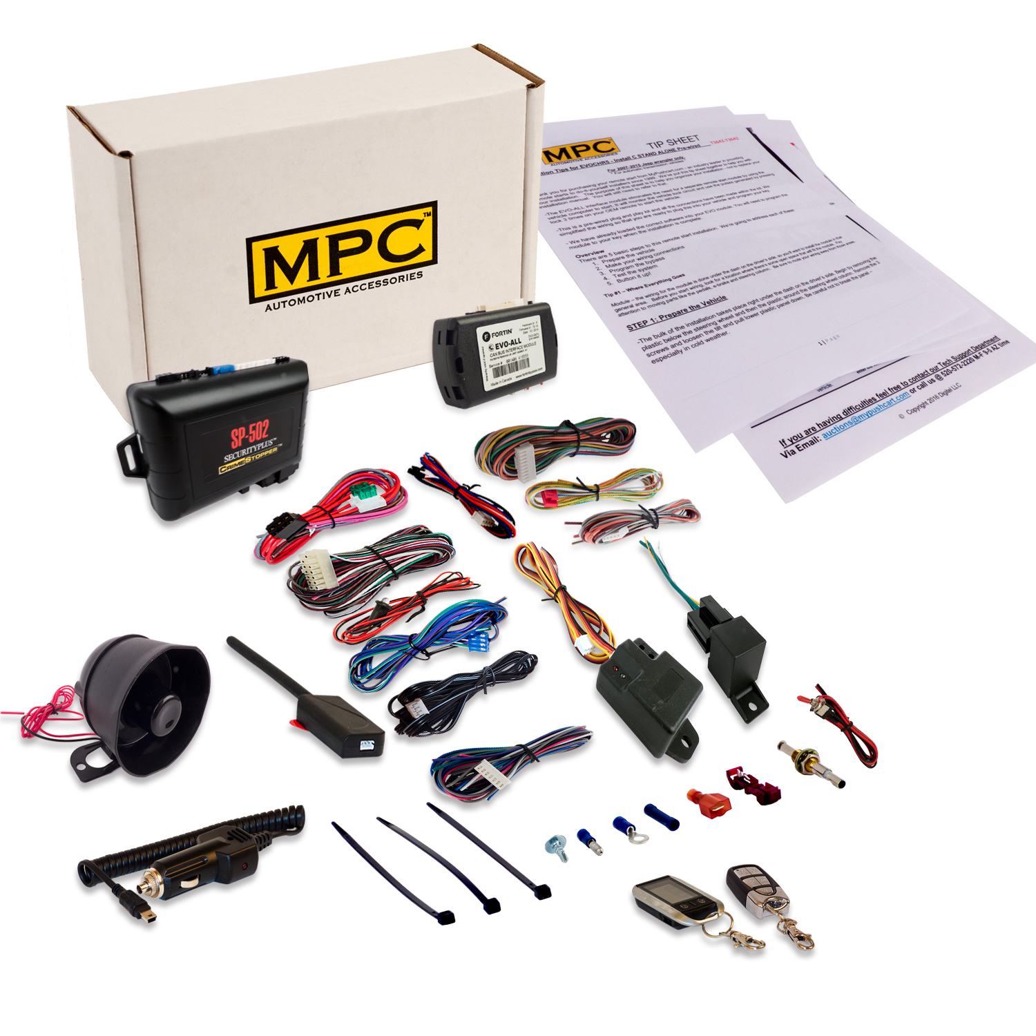 Deluxe 2-Way Remote Starter & Car Alarm W/ Keyless Bypass